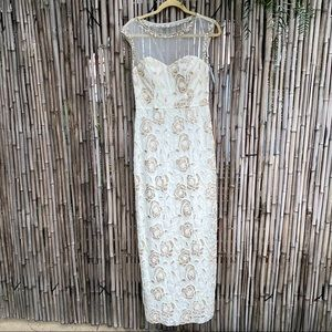 Sue Wong nocturne ivory  beaded wedding gown sz4